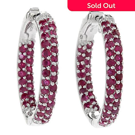 477e75b82 NYC II® Choice of Size Burmese Ruby Inside-out Hoop Earrings - EVINE
