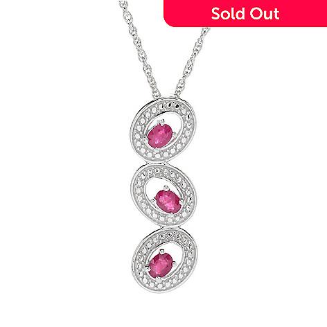 NYC II® Burmese Ruby 3-Stone Drop Pendant w/ 18