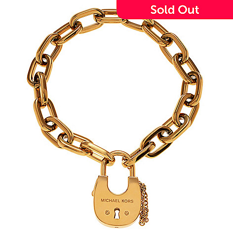 161 440 Michael Kors Stainless Steel 8 25 Padlock Charm Bracelet