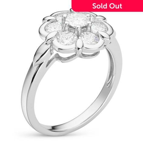 Forever Classic, Moissanite Sterling Silver 1 19 DEW Cluster Flower Ring