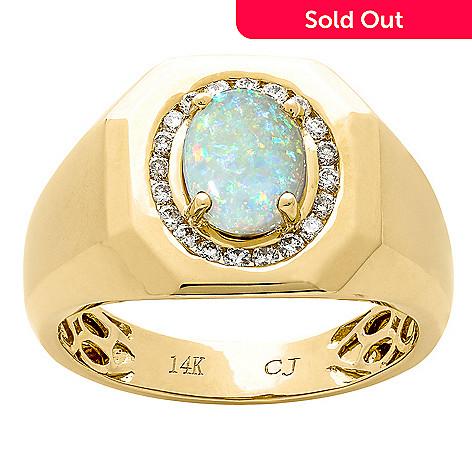 a630a633a52c2 Fierra™ Men s 14K Gold 9 x 7mm Australian Opal Ring - Size 11 - EVINE