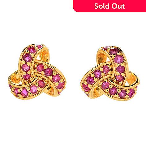 162 147 Nyc Ii 1 27ctw Burmese Ruby Love Knot Stud Earrings