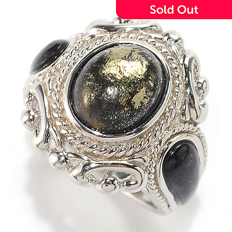a15e3f26bd 162-484- Gem Insider® Sterling Silver Oval & Freeform Shaped Gemstone Textured  Ring