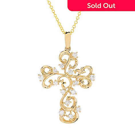 Effy doro 14k gold 037ctw diamond filigree cross pendant w 18 163 081 effy doro 14k gold 037ctw diamond filigree aloadofball Image collections