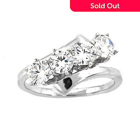 5c89b330621f2 Brilliante® Sterling Silver 1.40 DEW Simulated Diamond 4-Stone  Engagement-Style Ring