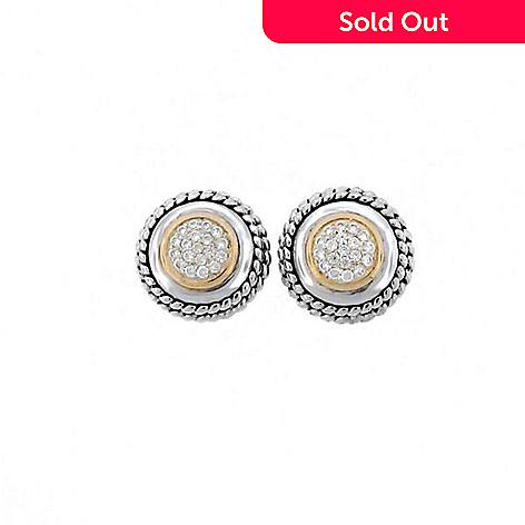 Belle Artique Sterling Silver 14K Gold Accented White Zircon Stud Earrings