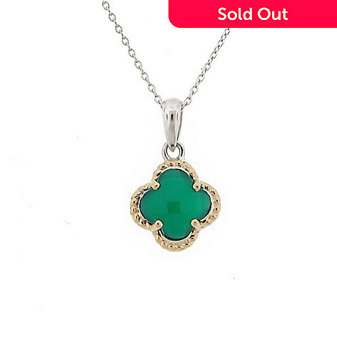 Belle artique sterling silver 14k gold accented green agate 163 939 belle artique sterling silver 14k gold accented green agate quatrefoil pendant aloadofball Choice Image