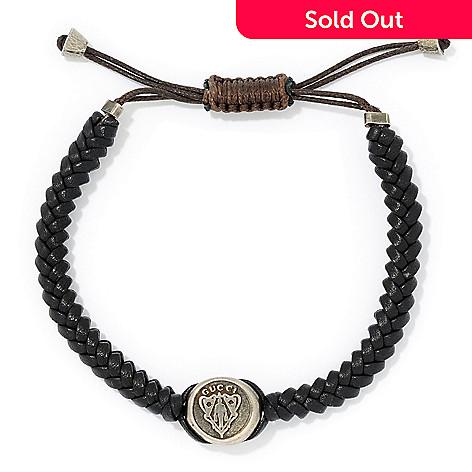 164 433 Gucci Men S Sterling Silver Leather Adjule Crest Bracelet