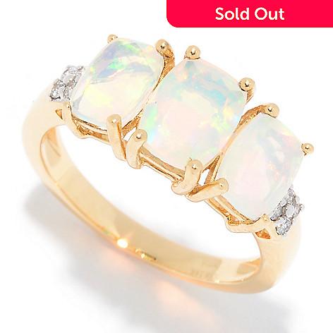 4081b7597 Gem Insider® 14K Gold Ethiopian Opal & Diamond 3-Stone Ring - EVINE