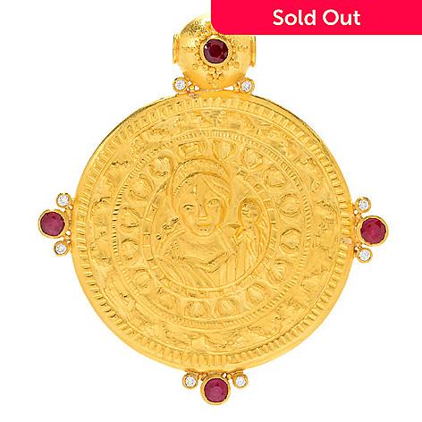 Cevherun 24k gold diamond ruby mother mary medallion pendant evine 164 781 cevherun 24k gold diamond ruby mother mary medallion pendant aloadofball Image collections