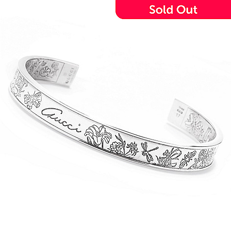164 897 Gucci Sterling Silver 6 5 Flora Engraved Cuff Bracelet 20 2 Grams