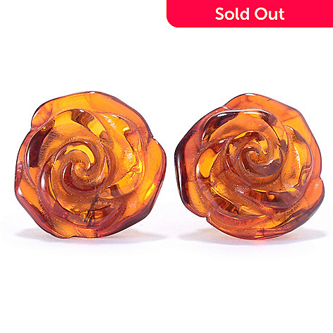e7b018ee9 165-732- Gemporia 15mm Carved Baltic Amber Rose Stud Earrings
