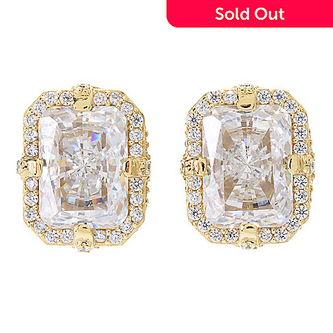 43fc8635a 166-608- Victoria Wieck Collection 8.26 DEW Simulated Diamond Rectangle  Halo Stud Earrings
