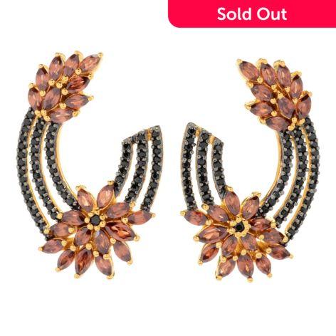 Nyc Ii 1 25 6 83ctw Mocha Zircon Black Spinel Hoop Earrings Evine
