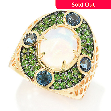2f3f89808 167-051- Victoria Wieck Collection Ethiopian Opal, London Blue Topaz &  Gemstone Ring