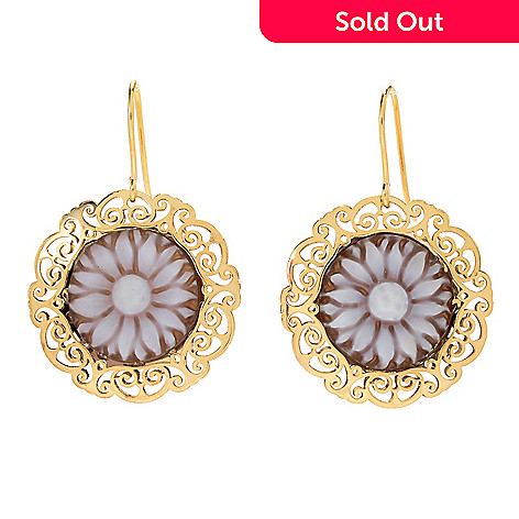 167 714 Stefano Oro Firenze Collection 14k Gold 1 25 14mm Sunflower Cameo Earrings