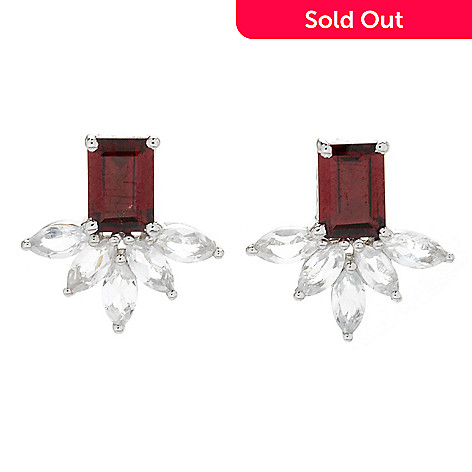 167 924 Gem Treasures Sterling Silver Gemstone White Topaz Stud Earrings