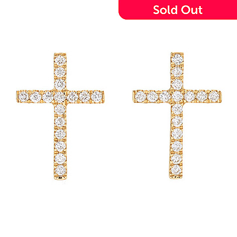 168 134 Gems Of Distinction 14k Gold 0 23ctw Diamond Cross Stud Earrings
