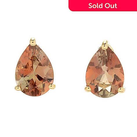 4e2c6da37 168-244- Gemporia 14K Gold 1.20ctw Pear Shaped Gouveia Andalusite Stud  Earrings