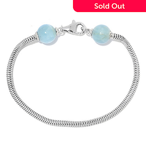 168 288 Gems En Vogue 10mm Aquamarine Bead Endcap Snake Chain Charm Bracelet