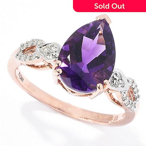 b90b828f2 168-363- Gemporia 14K Rose Gold 2.75ctw Moroccan Amethyst & Diamond Ring