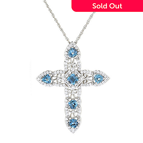 d30115b536961 Gem Treasures® Sterling Silver 1.68ctw Aquamarine & White Zircon Cross  Pendant