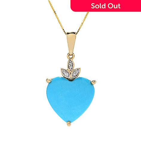 Gem Treasures®, 14K Gold 16mm, Sleeping Beauty, Turquoise &, Diamond Pendant