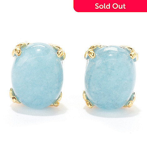 58a82953f 170-404- Gems en Vogue Final Cut 9 x 7mm Milky Aquamarine Stud Earrings