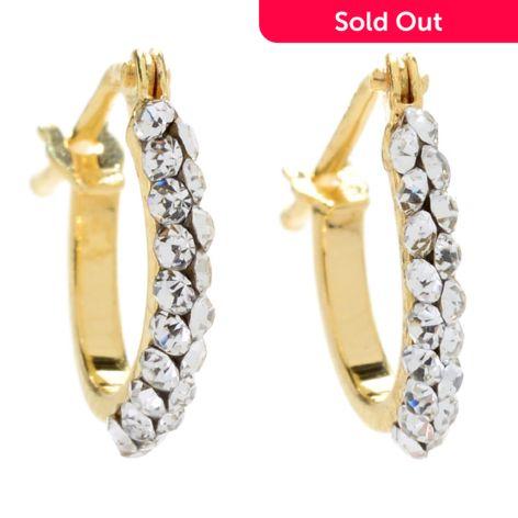 Stefano Oro 14k Gold Crystal Mosaico Accented Huggie Hoop Earrings