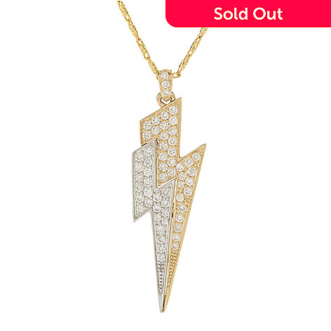 5d69884c63f2a Beverly Hills Elegance® 14K Two-tone Gold 0.50ctw Diamond Lightning Bolt  Pendant w/ Chain