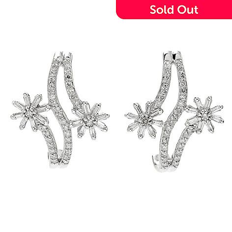 013492fd7 171-063- Diamond Treasures® Sterling Silver 0.49ctw Diamond Flower J-Hoop