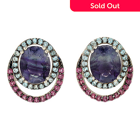 96240d7f9 Gem Treasures® Sterling Silver 8.55ctw Bi-Color Fluorite & Multi Gem ...