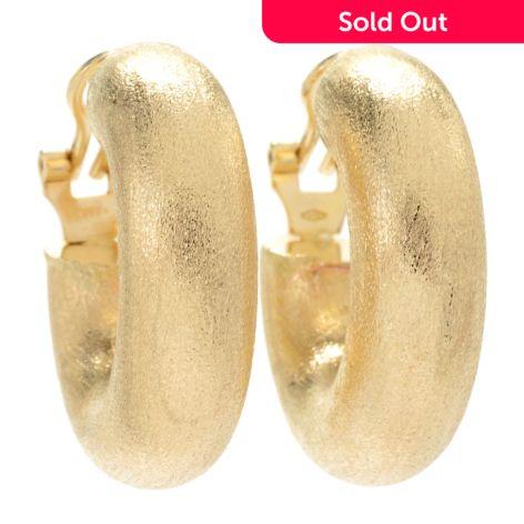 Gold Of Distinction 14k Gold 1 Satin Finished Huggie Hoop Earrings
