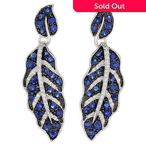 Effy Royale Bleu 14k White Gold 1 25 64ctw Shire Diamond Leaf Drop Earrings