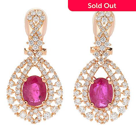 990cc3d430452 EFFY HEMATIAN, One-of-a-Kind, 18K Rose Gold, 5.93ctw Ruby &, Diamond  Earrings
