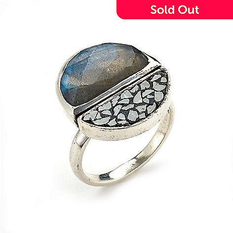 5044501260 174-113- Artisan Silver by Samuel B. Rough Black Diamond & Labradorite Ring