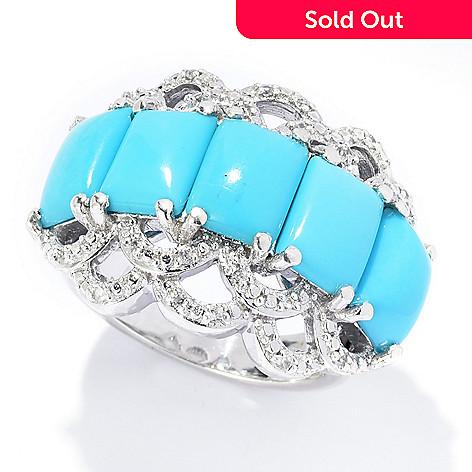 ff3c26ecfd2b5e 174-355- Gem Treasures® Sleeping Beauty Turquoise & White Zircon Band Ring