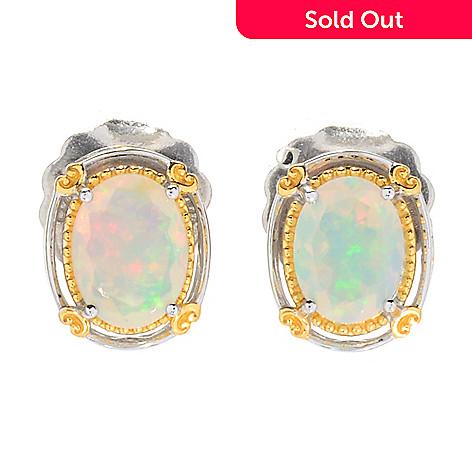 175 686 Gems En Vogue Oval Shaped Faceted Ethiopian Opal Stud Earrings