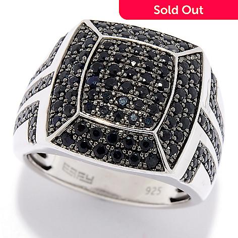 86f0d6bd3f110 EFFY Men's, Sterling Silver, 2.37ctw Black, Sapphire Cluster, Statement Ring