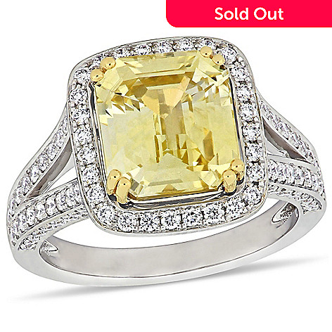 e2e096d63a268 Julianna B 14K White Gold 6.47ctw Yellow Sapphire & Diamond Halo Split  Shank Cocktail Ring