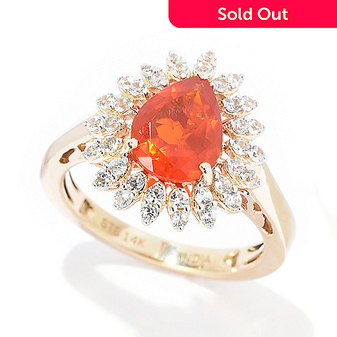 NYC II®, 14K Gold, 1 10ctw Pear Cut, Fire Opal &, White Zircon Ring