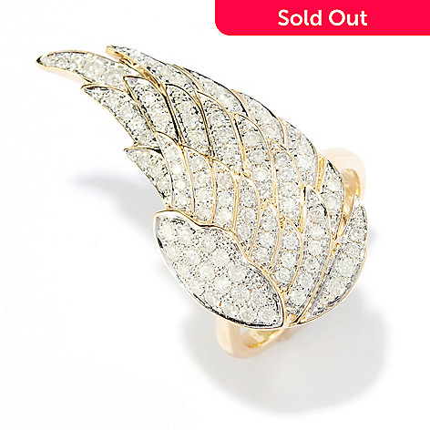 8690858bef76 179-116- Beverly Hills Elegance® 14K Gold 1.00ctw Diamond Angel Wing Ring