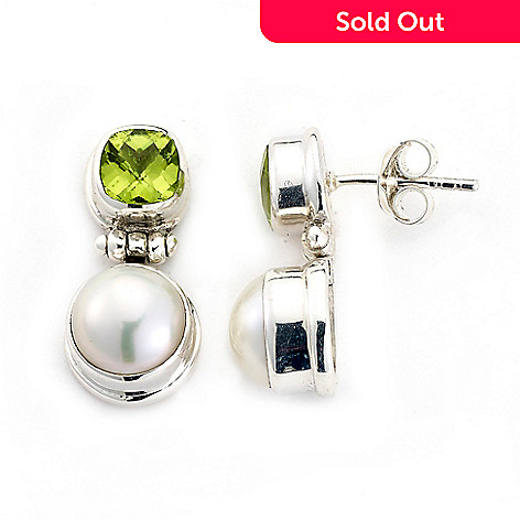 fb93010a7 179-255- Artisan Silver by Samuel B. 8mm Freshwater Cultured Pearl & Peridot