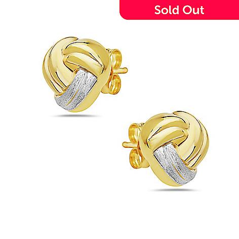 5856b6145 181-238- Italian 14K Gold Semi Solid Knot Stud Earrings