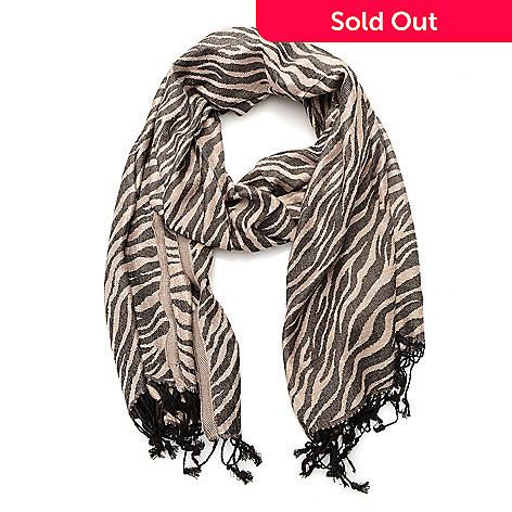 0771ce114 311-497- Elizabeth Grant Woven Tiger Printed Fringe Scarf