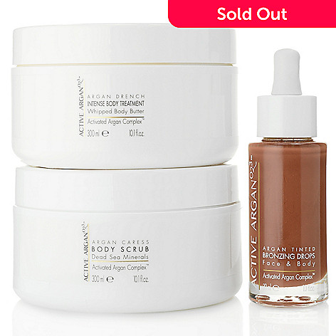Active Argan Body Scrub, Whipped Body Butter & Bronzing Drops Radiant Trio