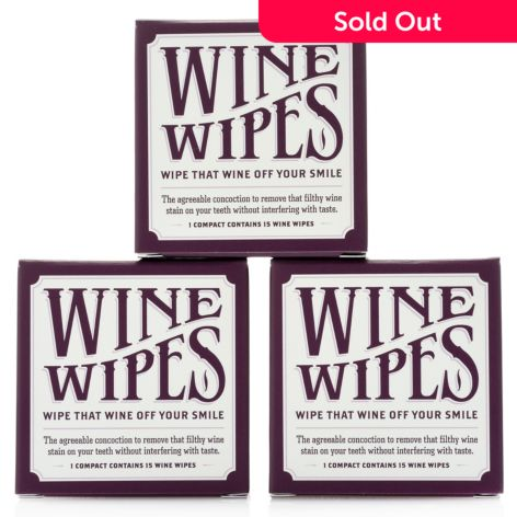 The Vanity Project, Wine Wipes, Compact Trio, (15 Count Each)