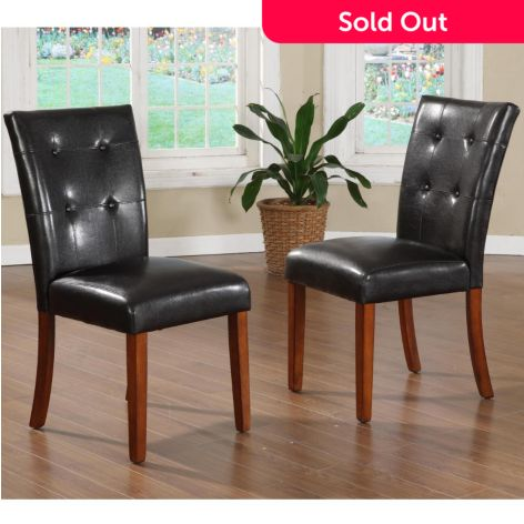 Peachy Homebasica Set Of Two 38 Dark Brown Faux Leather Parson Creativecarmelina Interior Chair Design Creativecarmelinacom
