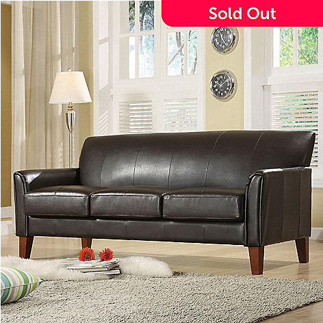 Dark Brown Vinyl Microfiber Sofa - EVINE