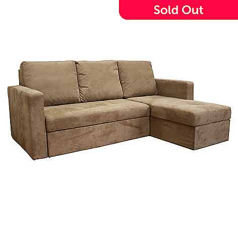 Linden Convertible Tan Microfiber Sectional / Sofa Bed